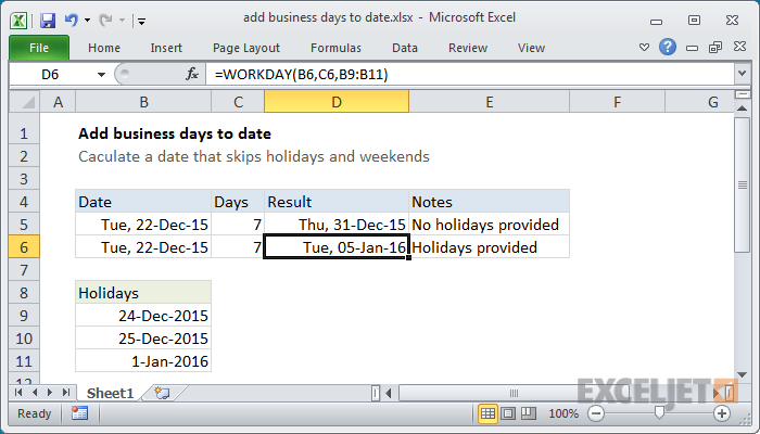 Excel formula: Add business days to date