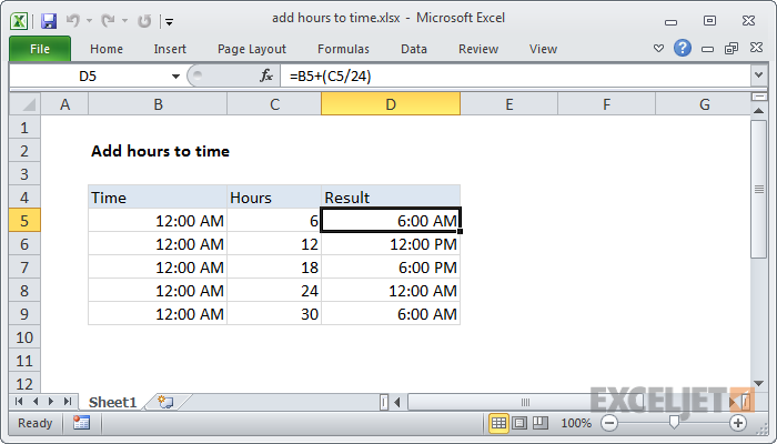 Excel formula: Add decimal hours to time | Exceljet