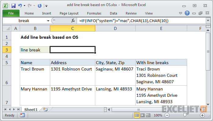 Excel formula: Add line break based on OS | Exceljet