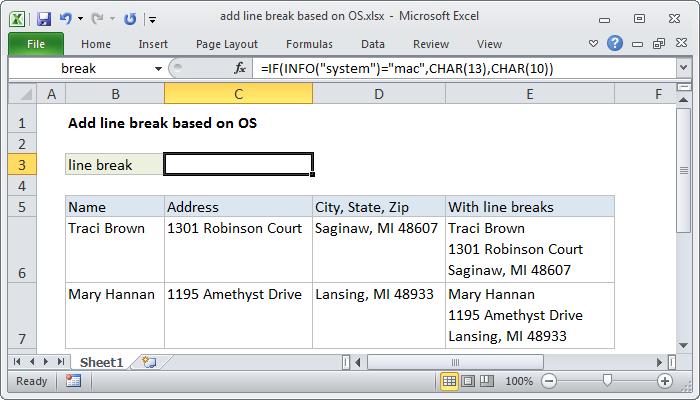 Excel formula: Add line break based on OS
