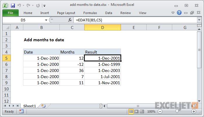 Excel formula: Add months to date