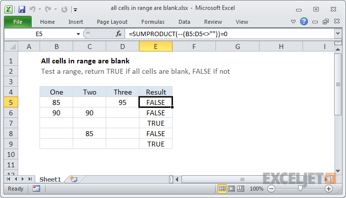 Excel formula: All cells in range are blank