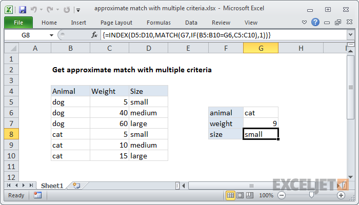 Excel formula: Approximate match with multiple criteria