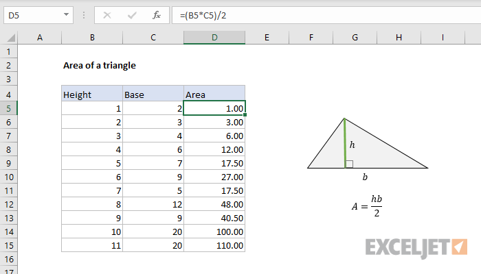 Excel formula: Area of a triangle
