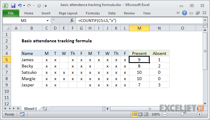 attendance tracking system in excel