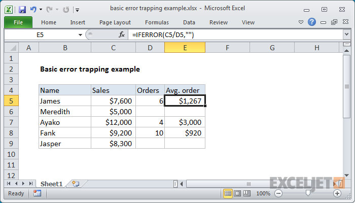 Excel formula: Basic error trapping example
