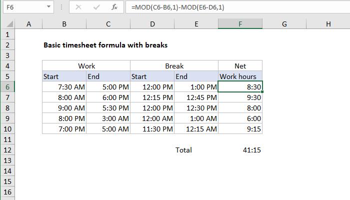 timesheet formulas in excel