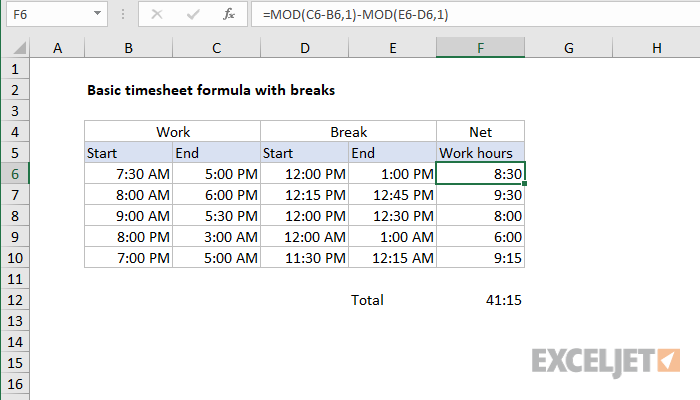 excel formula basic timesheet formula with breaks exceljet