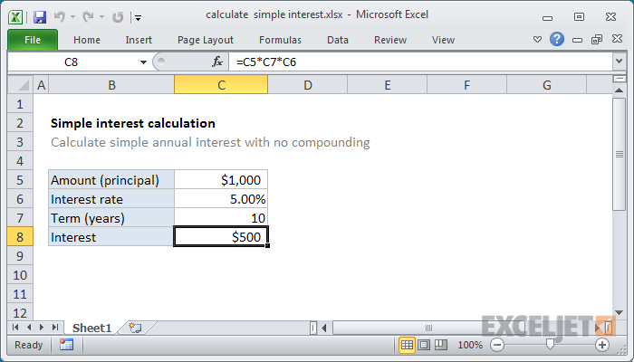 Excel formula: Calculate simple interest | Exceljet