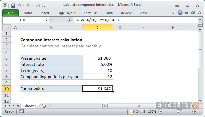 excel formula  calculate compound interest