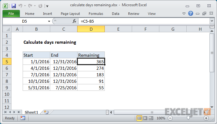 Excel formula: Calculate days remaining | Exceljet