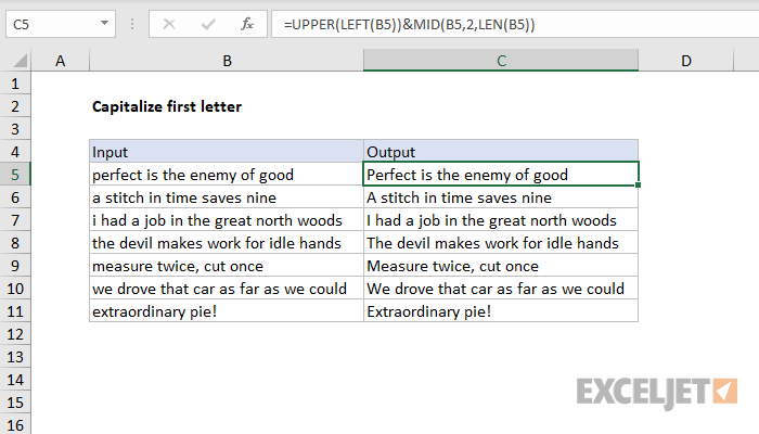 Excel formula: Capitalize first letter