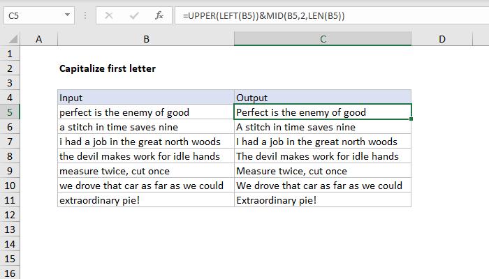 excel formula: capitalize first letter | exceljet