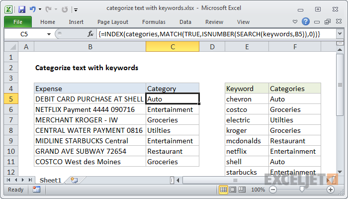 Excel formula: Categorize text with keywords