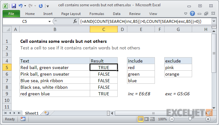 Excel formula: Cell contains some words but not others