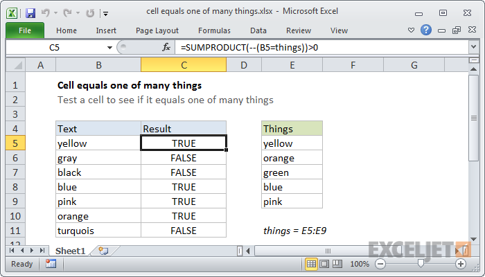 Excel formula: Cell equals one of many things