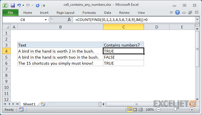 Excel formula: Cell contains number