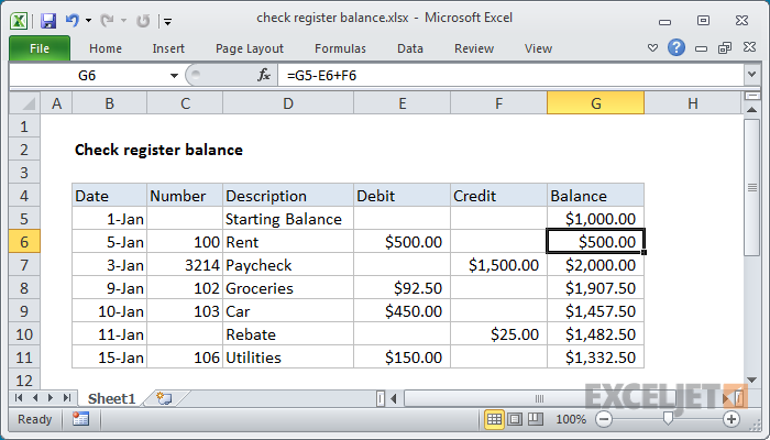 excel formula  check register balance
