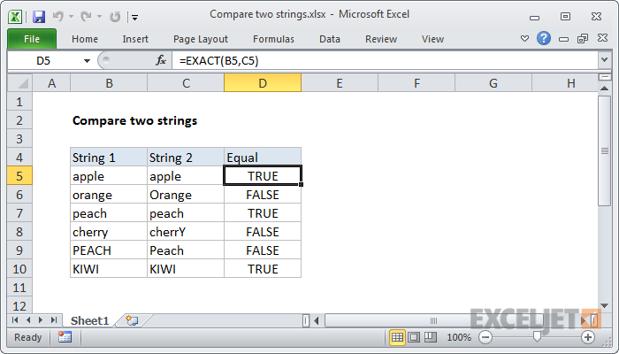 Excel formula: Compare two strings