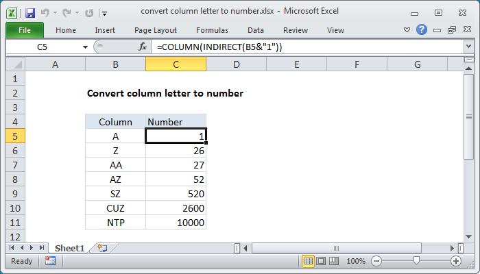 Excel formula: Convert column letter to number | Exceljet