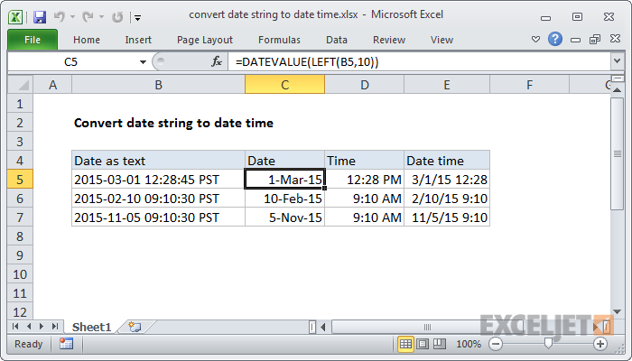 Excel formula: Convert date string to date time