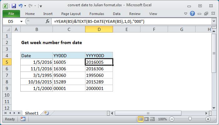 Excel formula: Convert date to Julian format | Exceljet