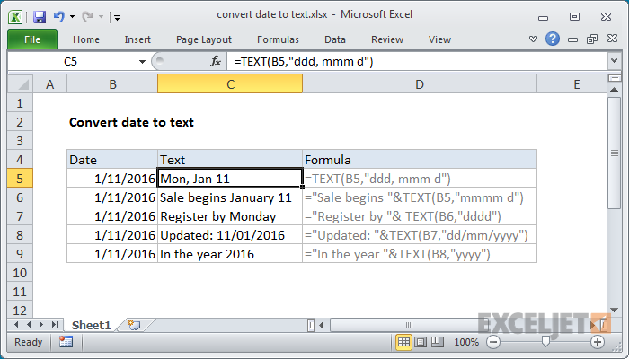 Excel formula: Convert date to text