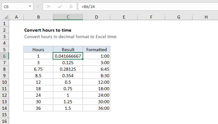 Excel formula: Convert decimal hours to Excel time