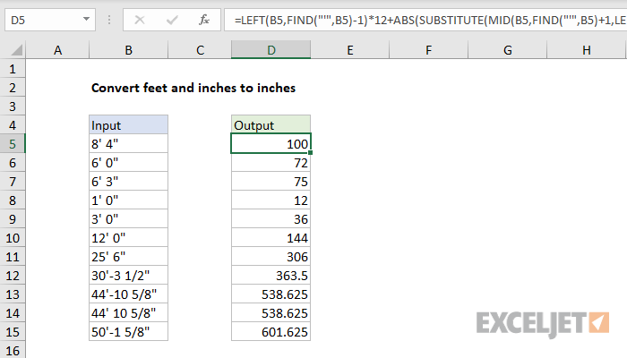 Excel formula: Convert feet and inches to inches