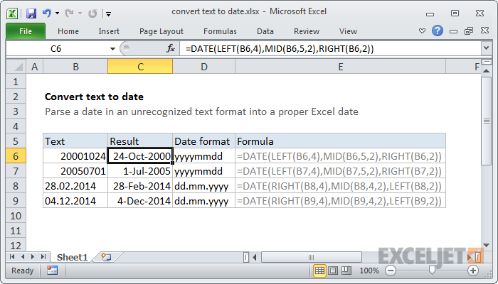 Excel formula: Convert text to date