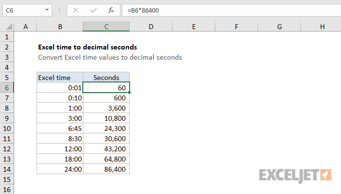 Convert Excel Time To Decimal Seconds