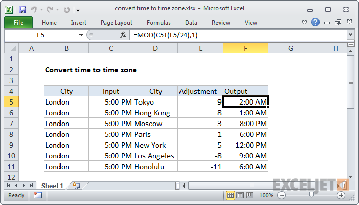 Excel formula: Convert time to time zone