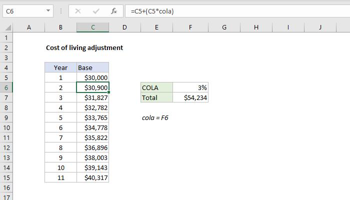 Excel formula: Cost of living adjustment
