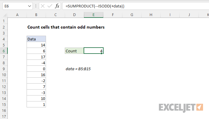 Excel formula: Count cells that contain odd numbers