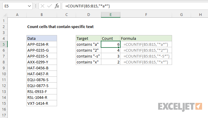 Excel formula: Count cells that contain specific text