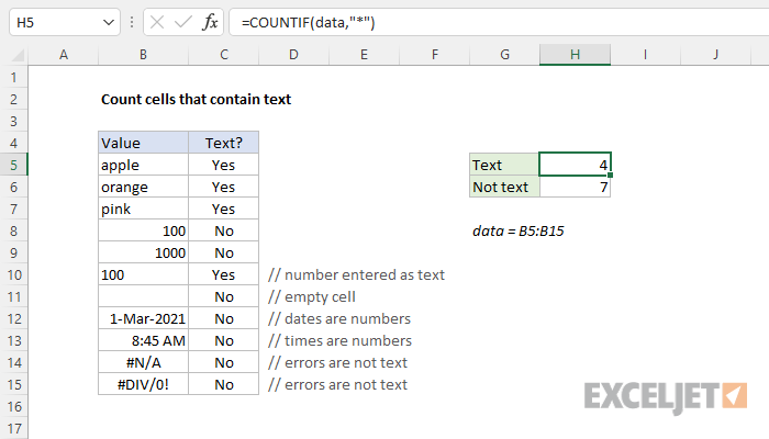 Excel formula: Count cells that contain text