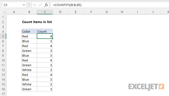Excel formula: Count items in list