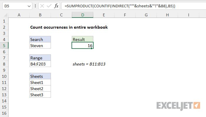 Excel formula: Count occurrences in entire workbook