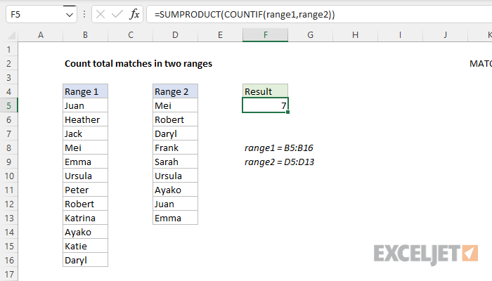 Excel formula: Count total matches in two ranges | Exceljet