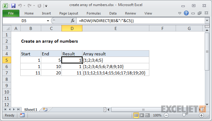 Excel formula: Create array of numbers