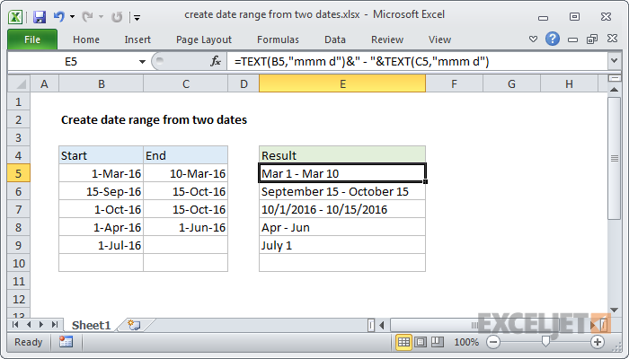Excel formula: Create date range from two dates