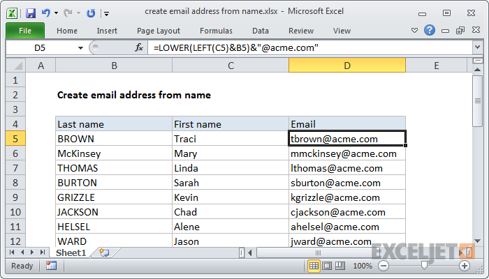 Excel formula: Create email address from name | Exceljet
