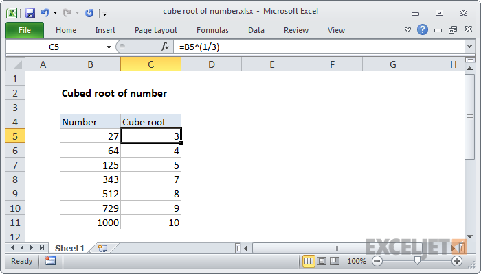 Excel formula: Cube root of number | Exceljet
