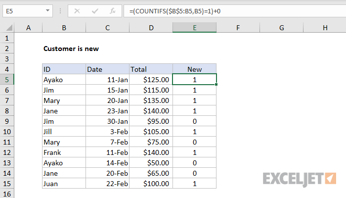 Excel formula: Customer is new