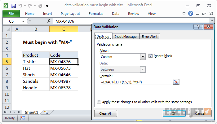Excel formula: Data validation must begin with