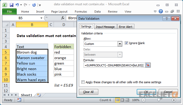 Excel formula: Data validation must not contain