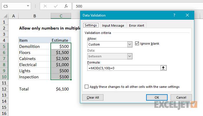 Excel formula: Data validation number multiple 100