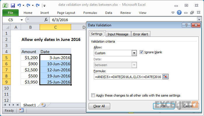 Excel formula: Data validation only dates between