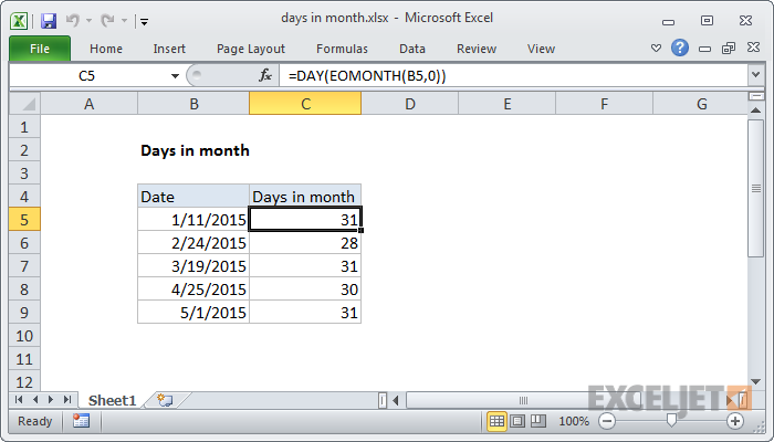 Excel formula: Days in month