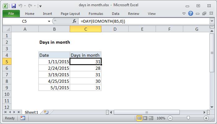 Excel formula: Days in month